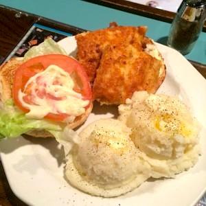 Fish Burger and Mashed