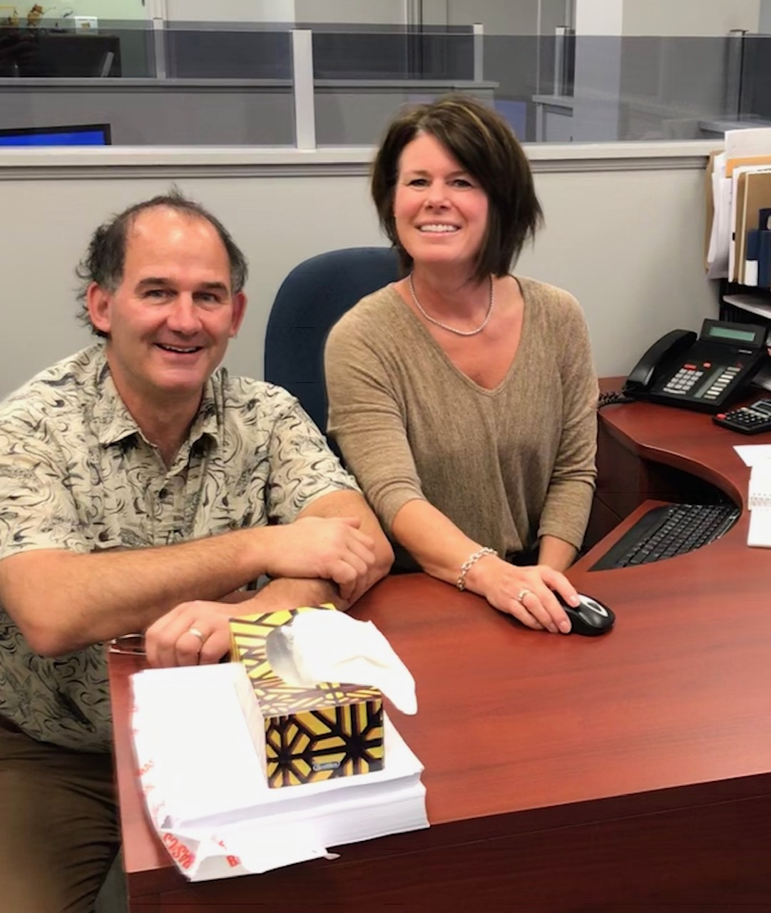 Culture consultant Frank Gallant smiling with insurance broker Angie Hull