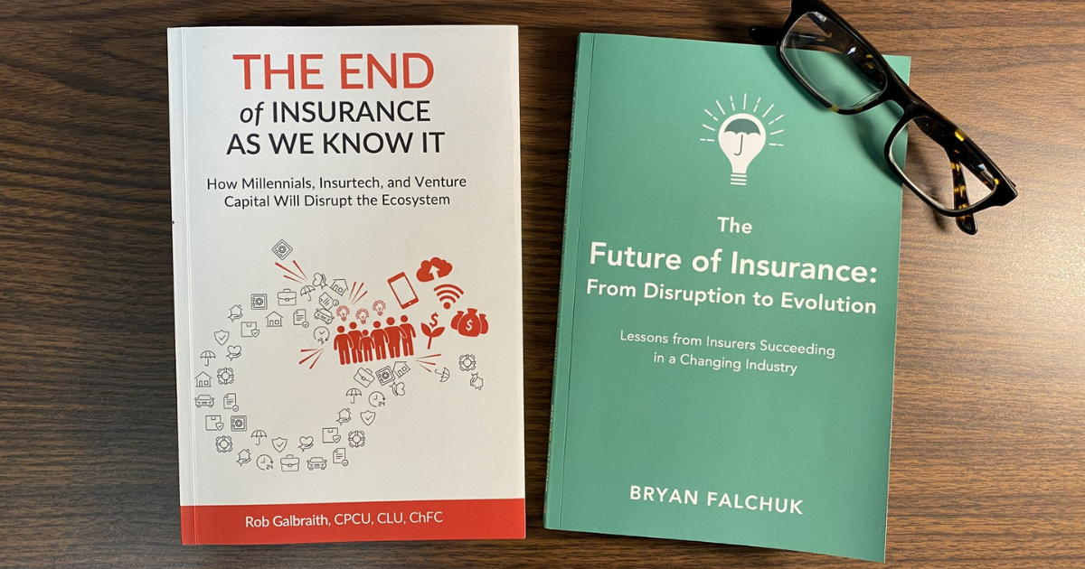"""The End of Insurance as We Know It"" book cover and ""The Future of Insurance"" book cover with glasses on a table"