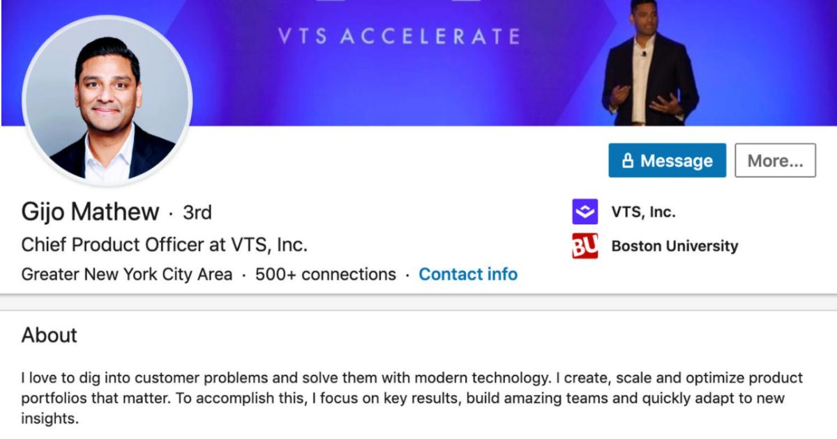 A LinkedIn profile example